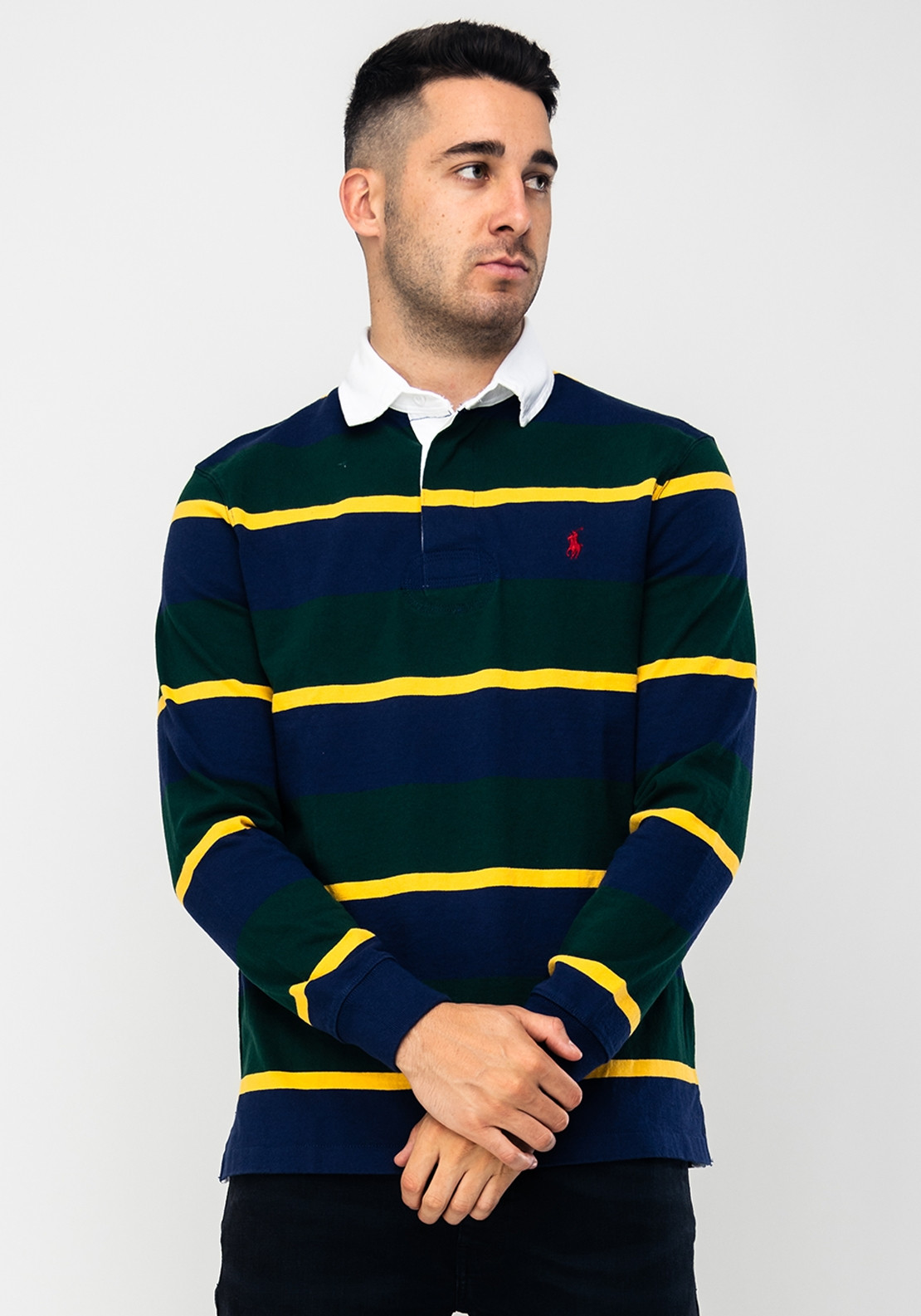 038f883a Ralph Lauren Long Sleeved Rugby Shirt, Green Multi