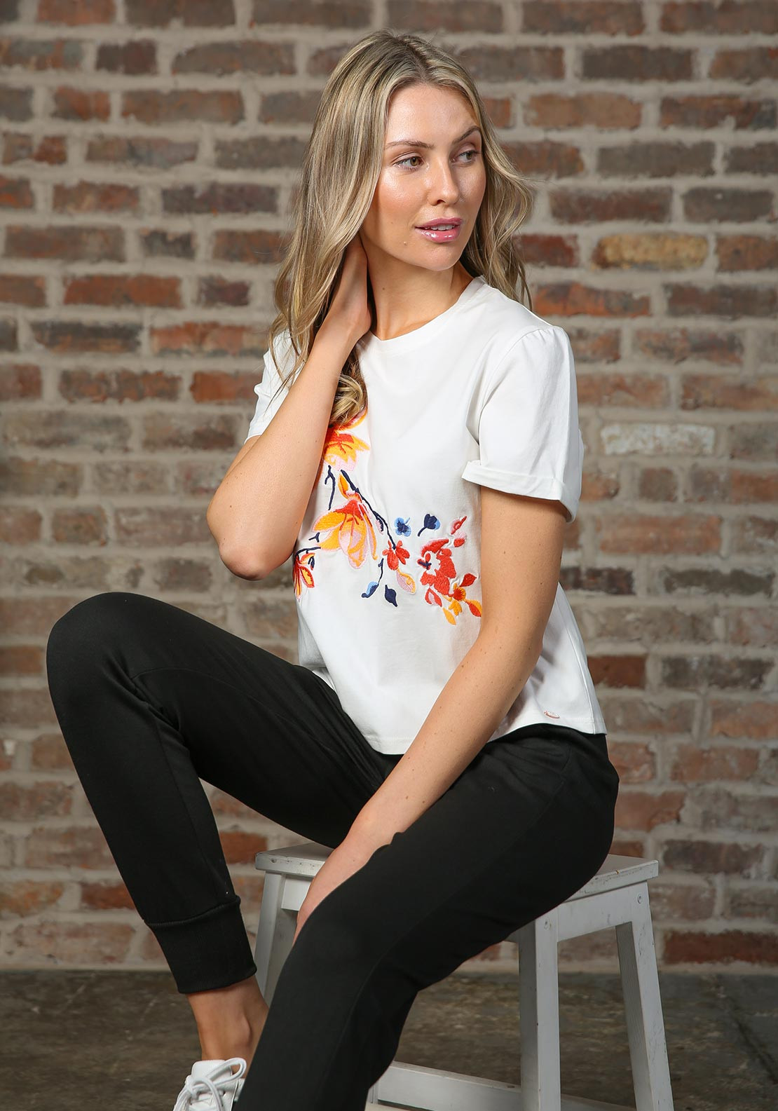 Rant & Rave Relax & Renew Roxy Embroidered T-Shirt, White