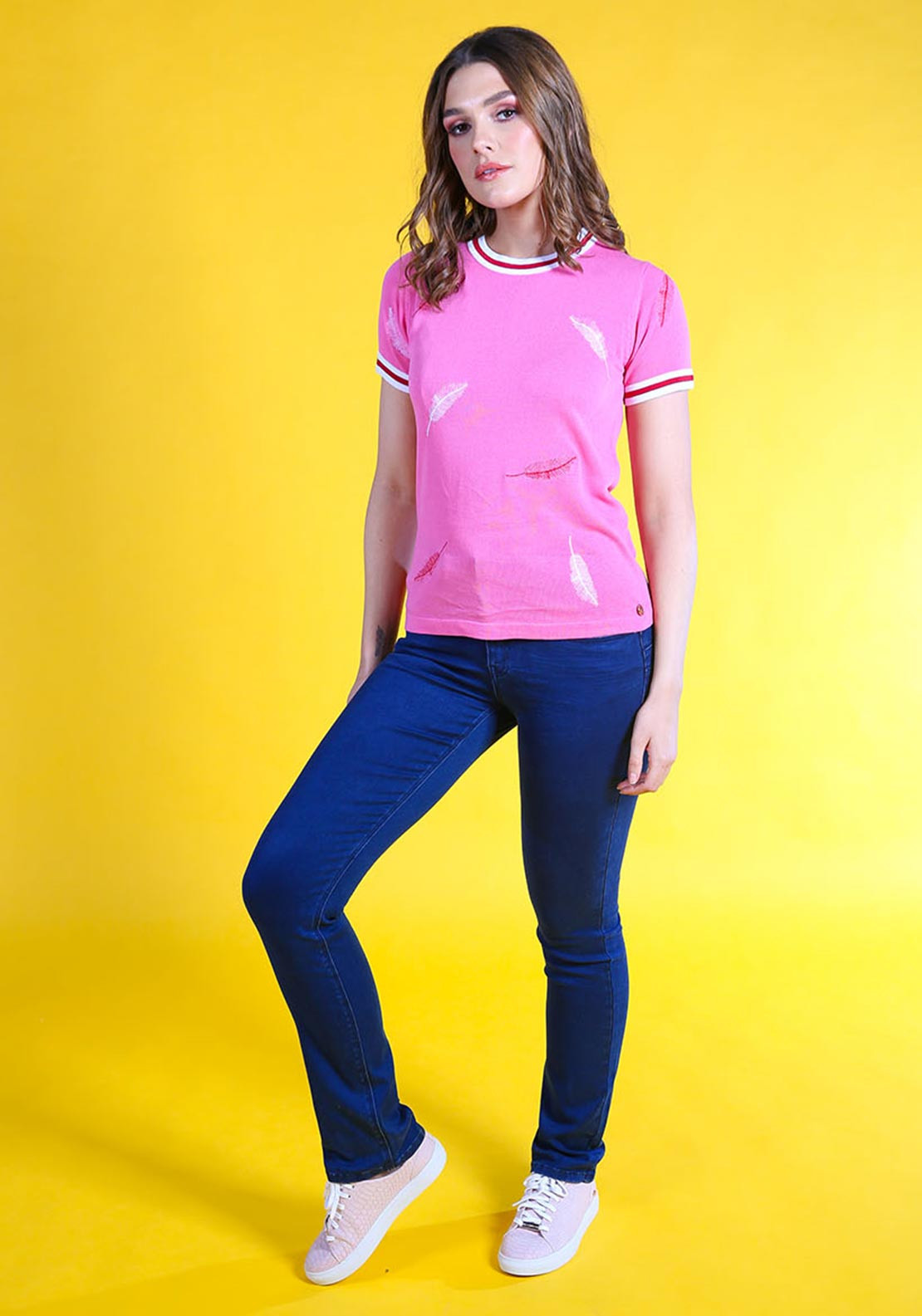Rant & Rave Ivy Feather Embroidered Tee, Pink