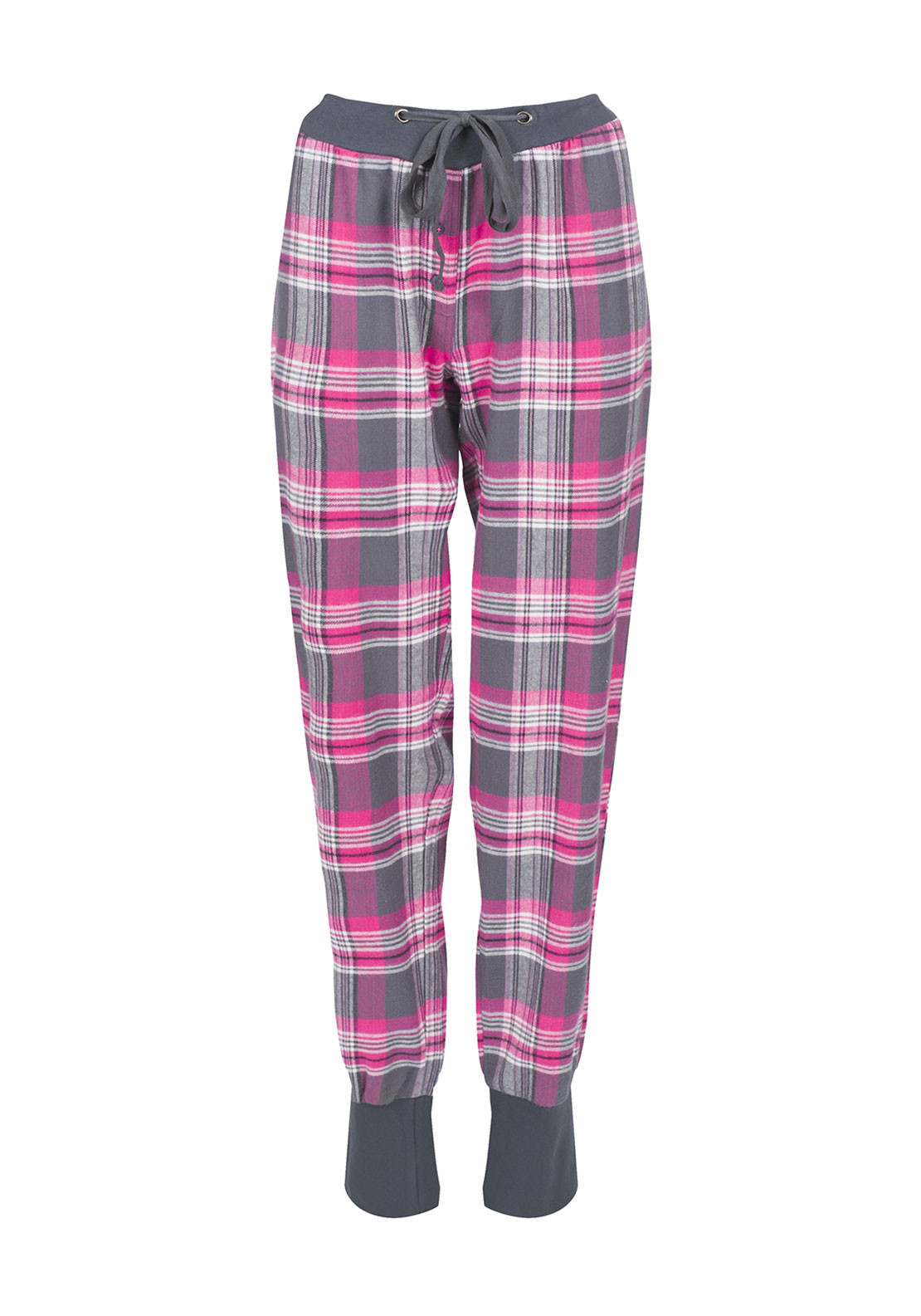 Rebelle Checked Brushed Cotton Pyjama Bottoms, Grey and Pink