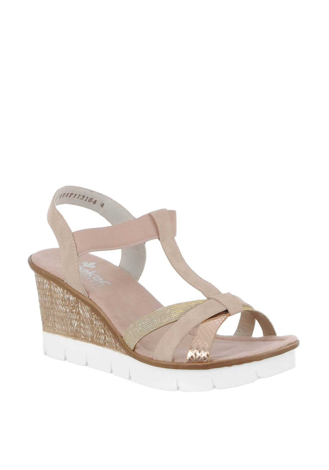 8427b39260a0 Rieker Womens Metallic Strap Wedged Sandals