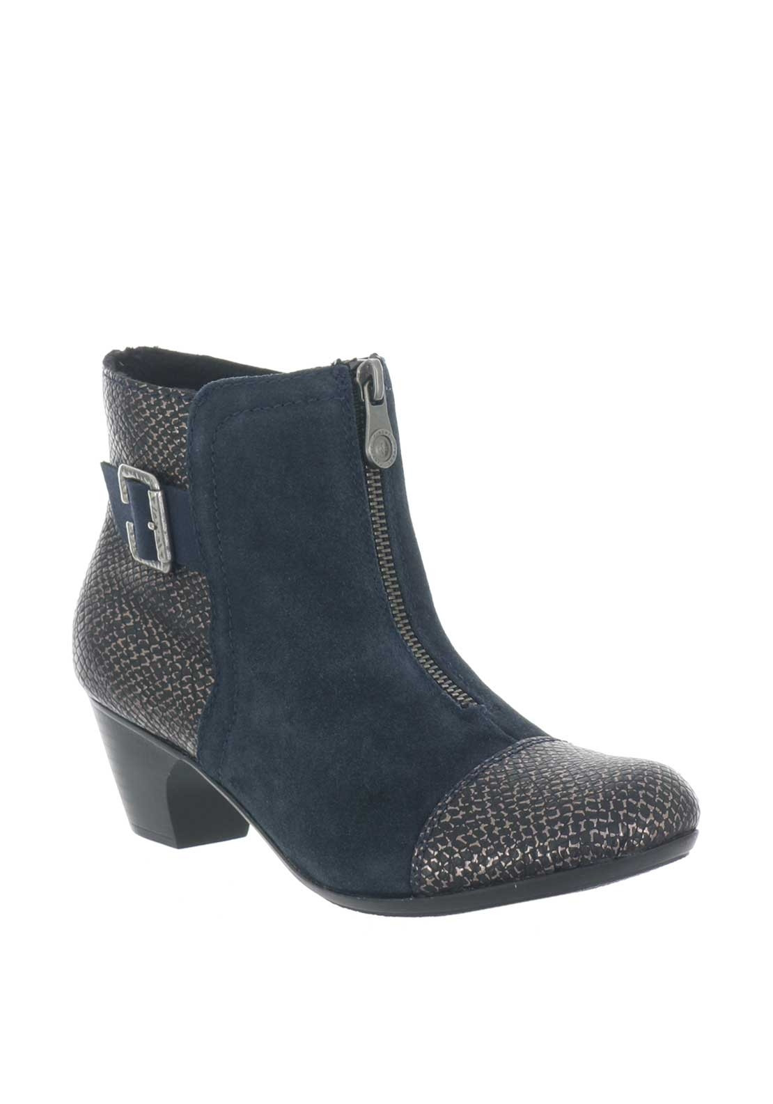 Rieker Womens Zip Heeled Ankle Boots, Navy