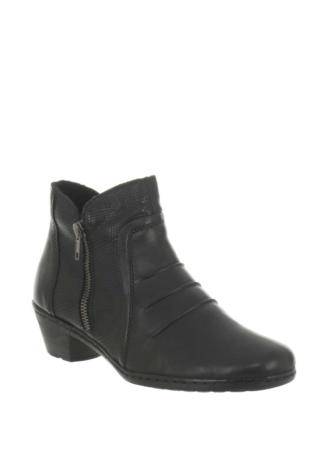 c66043c434f Rieker Womens Leather Ruched Ankle Boots, Black | McElhinneys