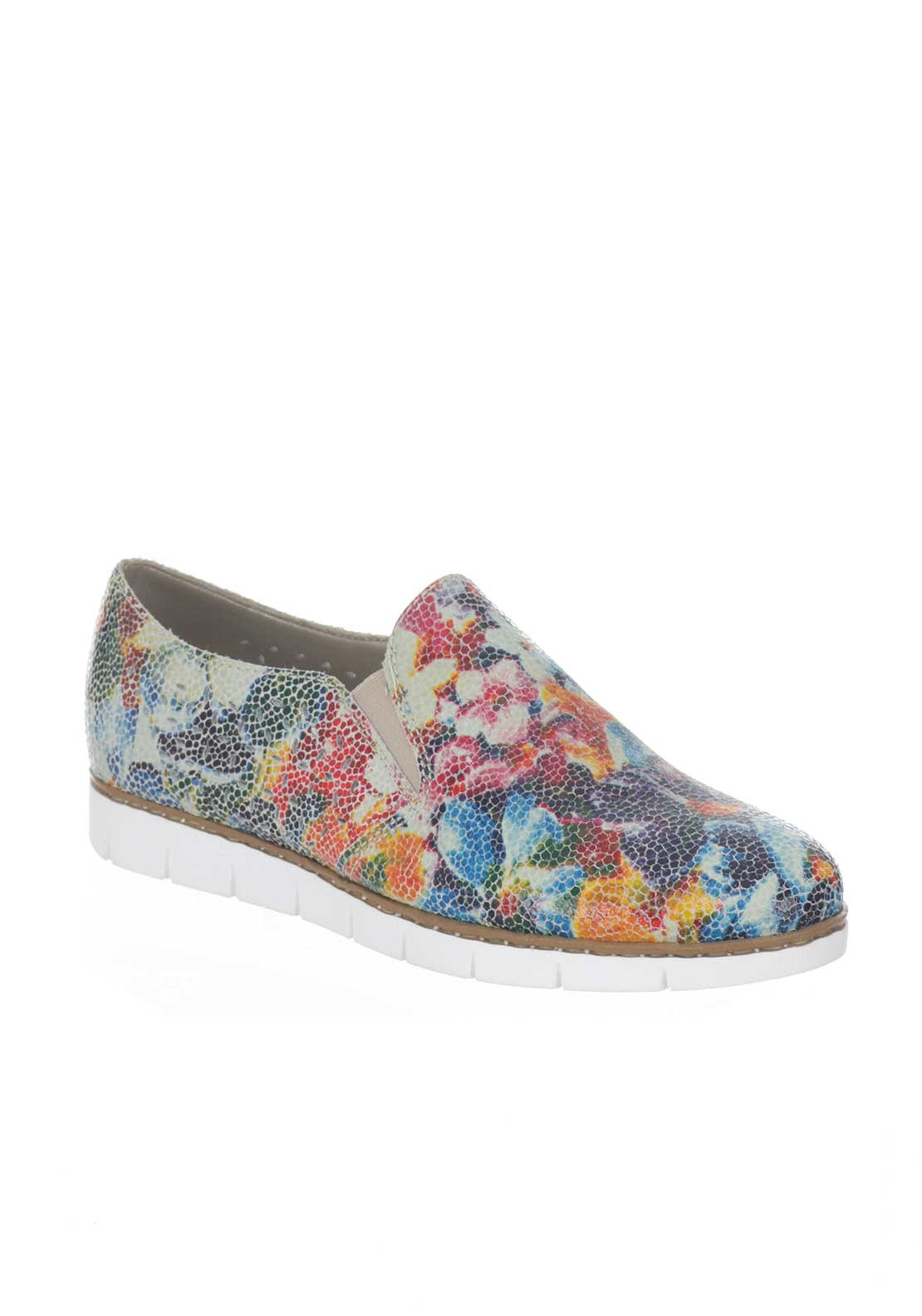 Rieker Womens Leather Printed Slip on Shoes, Multi