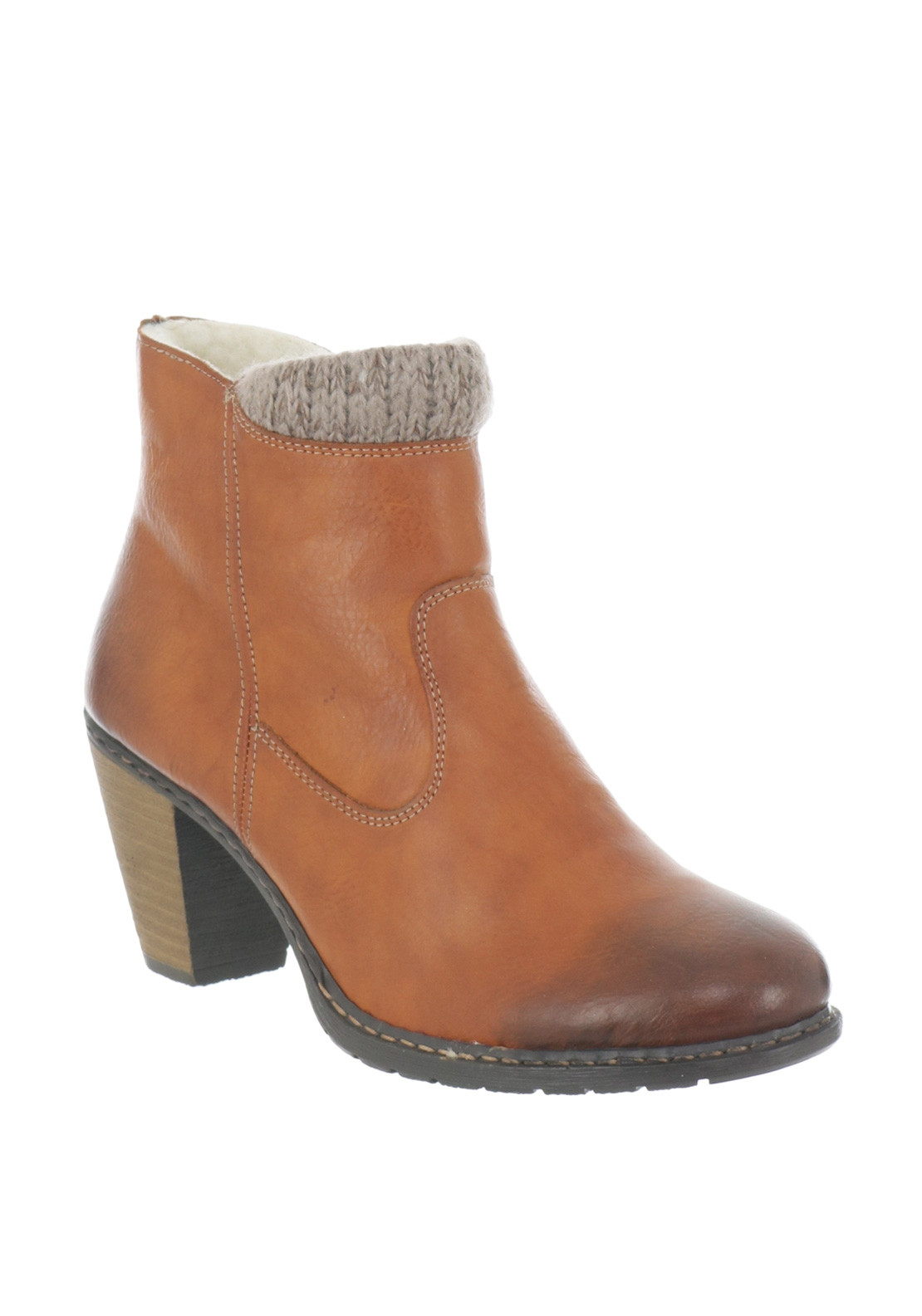 Rieker Womens Knit Cuff Heeled Ankle Boots, Tan