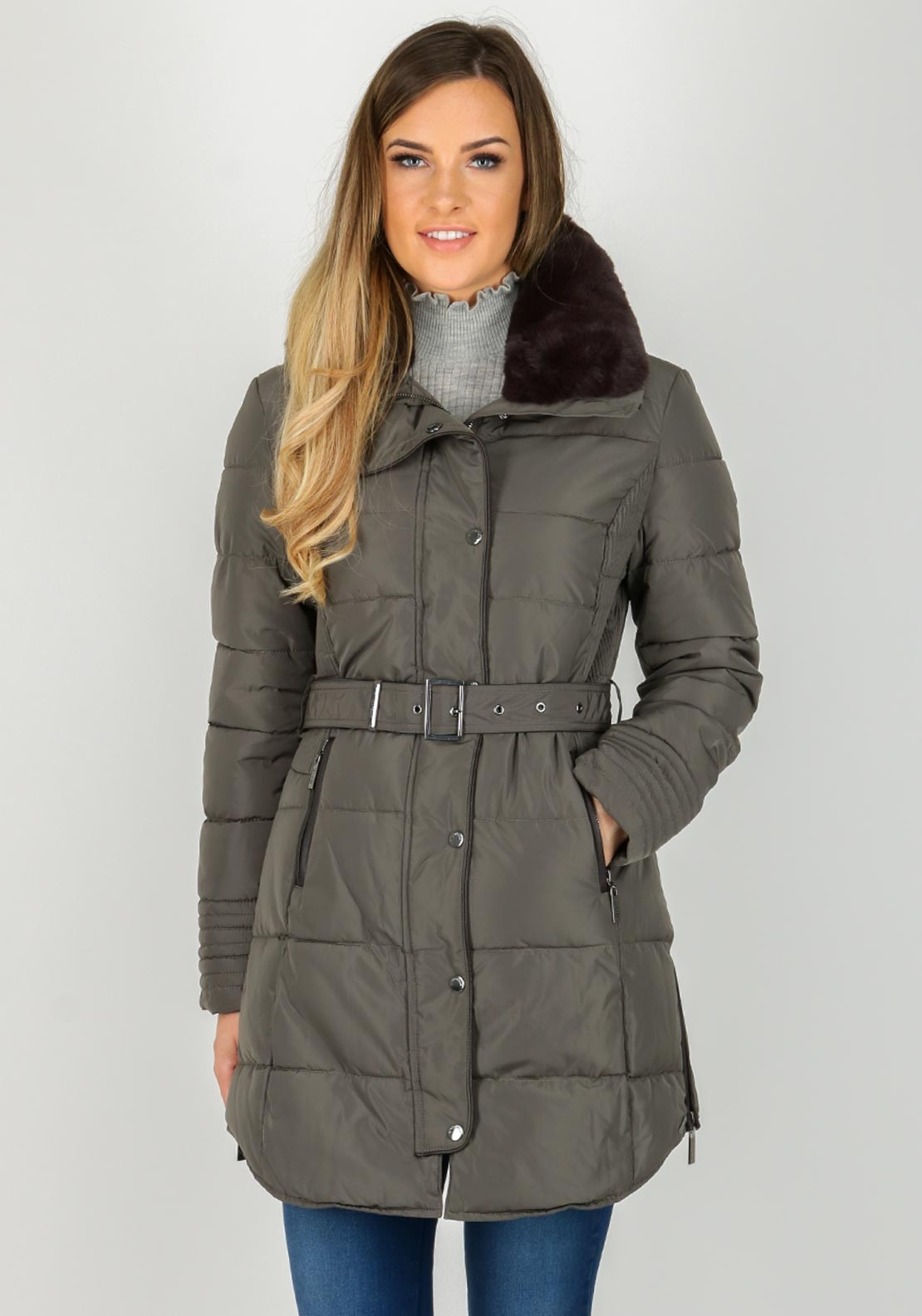 Rino & Pelle Blush Faux Fur Trim Quilted Coat, Olive Green
