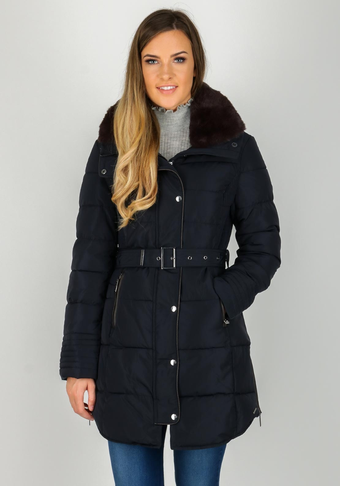 Rino & Pelle Blush Faux Fur Trim Quilted Coat, Navy