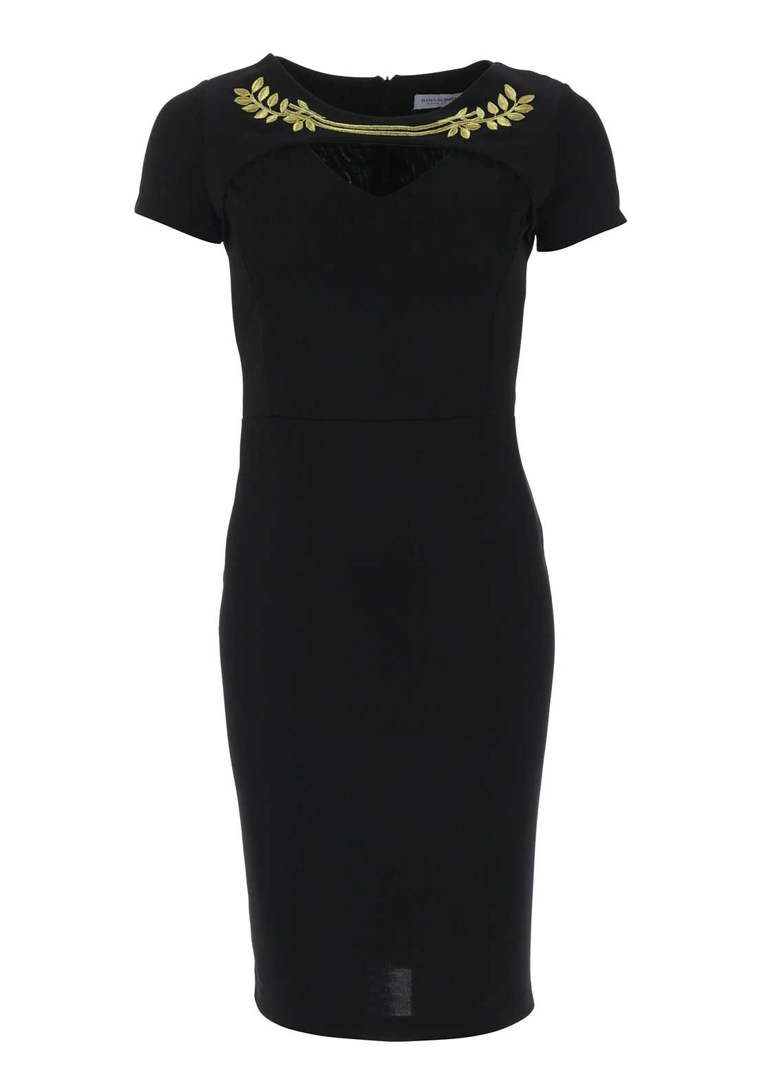 Rinascimento Embroidered Bodycon Dress, Black