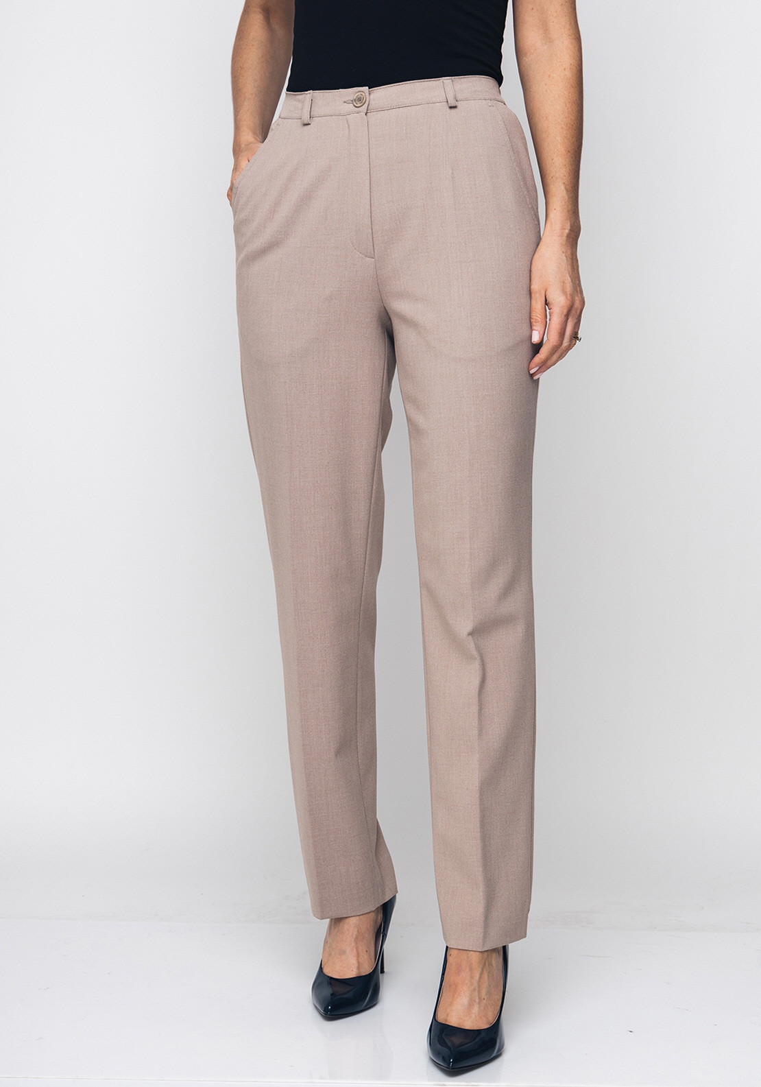 Robell Pia Comfort Fit Straight Leg Trousers, Beige
