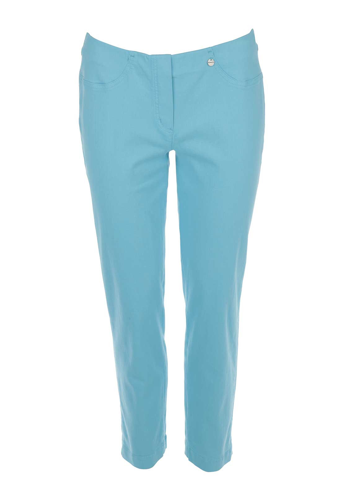 Robell Bella 09 Cropped Jeggings, Aqua Blue