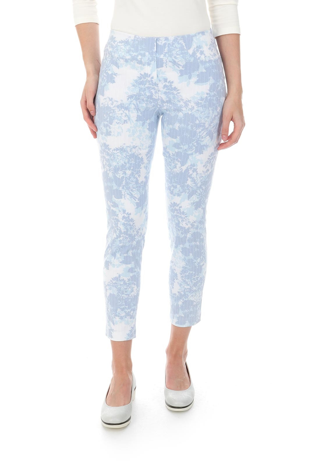 Robell Bella 09 Floral Print Cropped Jeggings, Blue and White