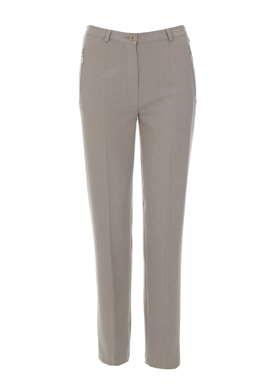 Robell Sahra Comfort Fit Straight Leg Trousers, Beige