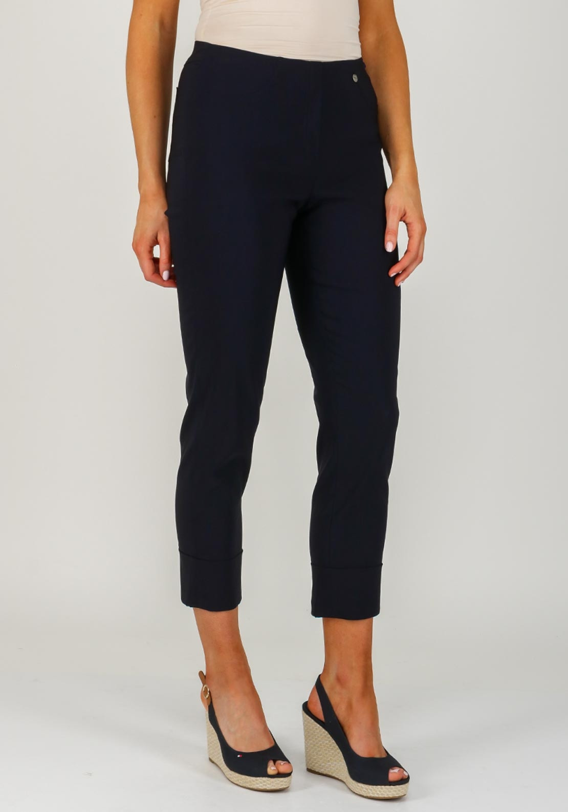 Robell Bella 09 Turn Up Cropped Trousers, Navy