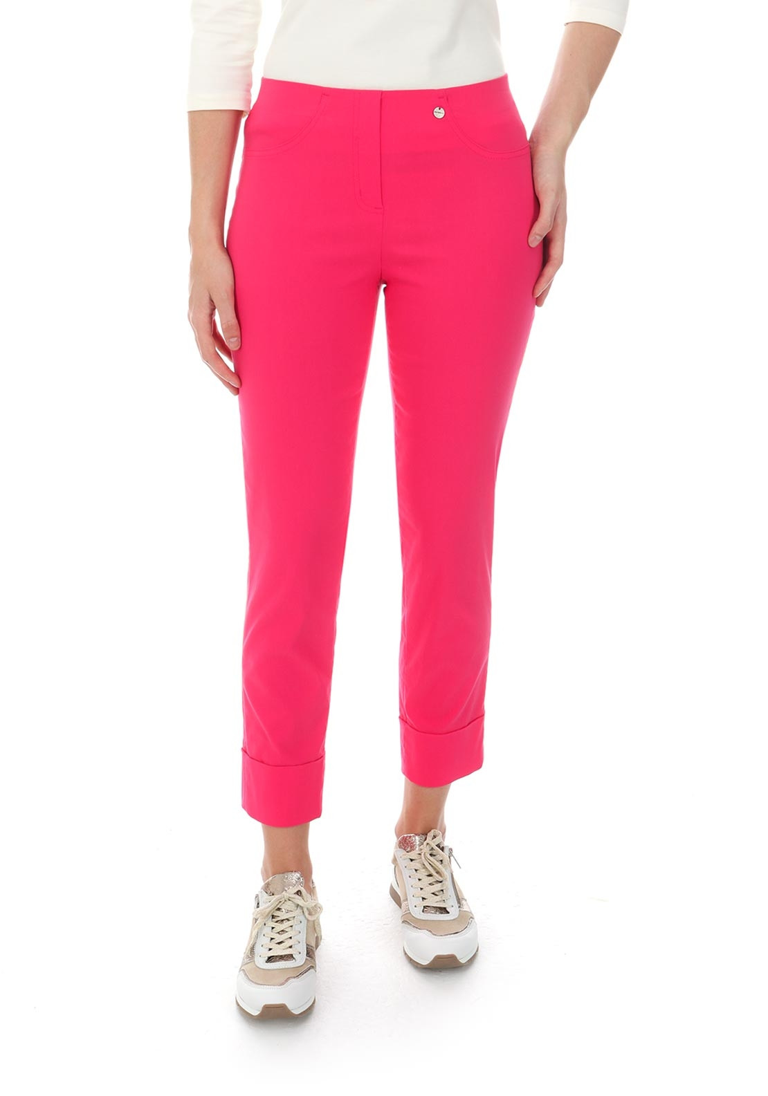 Robell Bella 09 Turn Up Cropped Trousers, Hot Pink