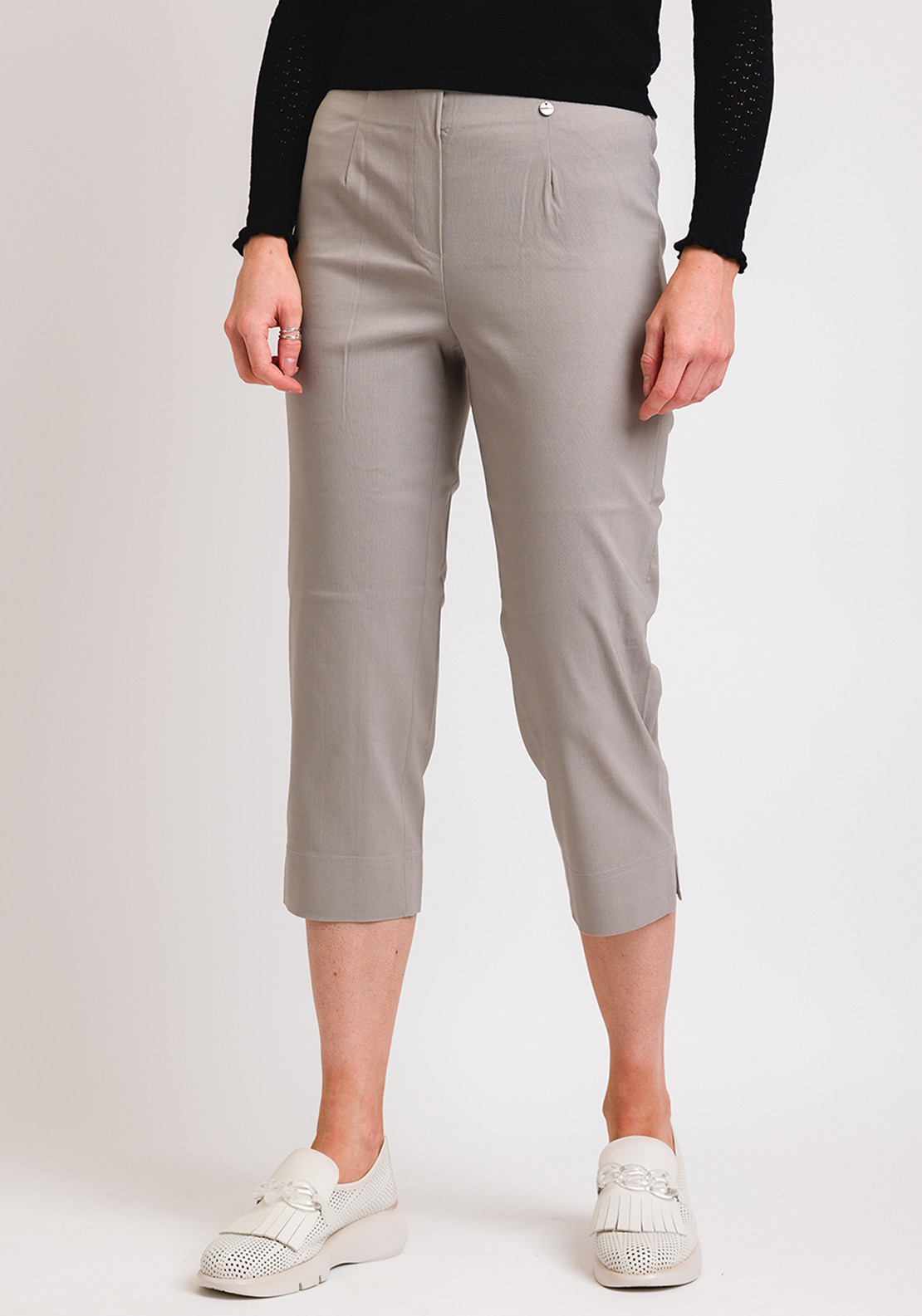 Robell Marie 07 Slim Fit Cropped Trousers, Stone
