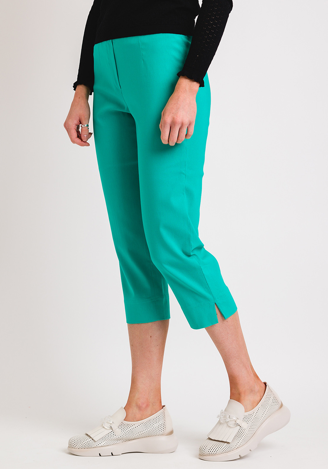 Robell Marie 07 Slim Fit Cropped Trousers, Jade Green