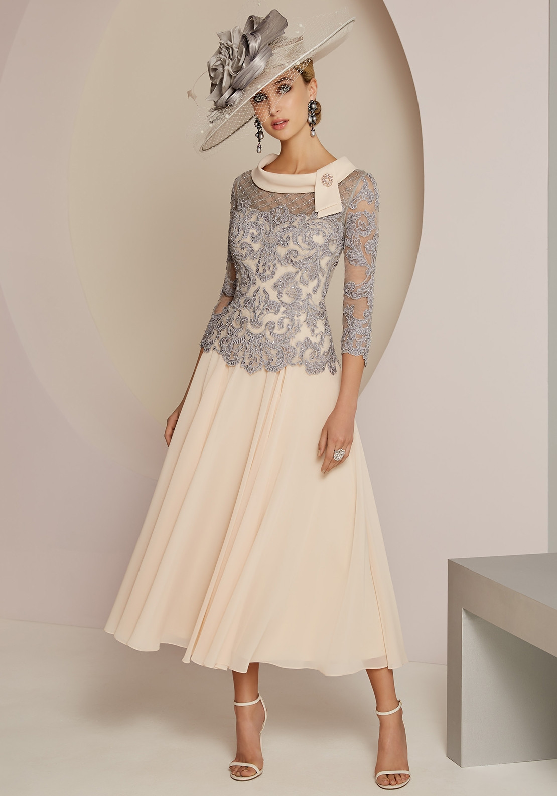 35fb77453566 Veni Infantino for Ronald Joyce Lace Overlay Dress, Charcoal & Rose ...
