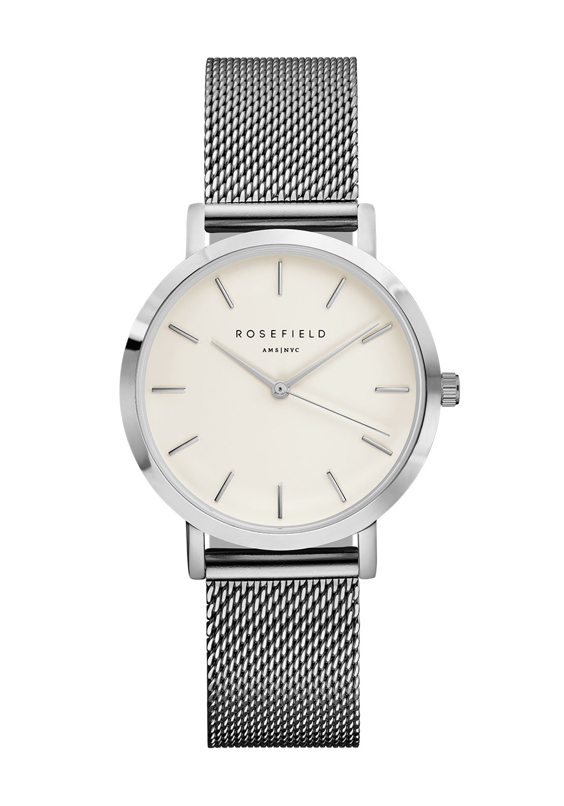 Rosefield The Tribeca Silver Mesh Strap