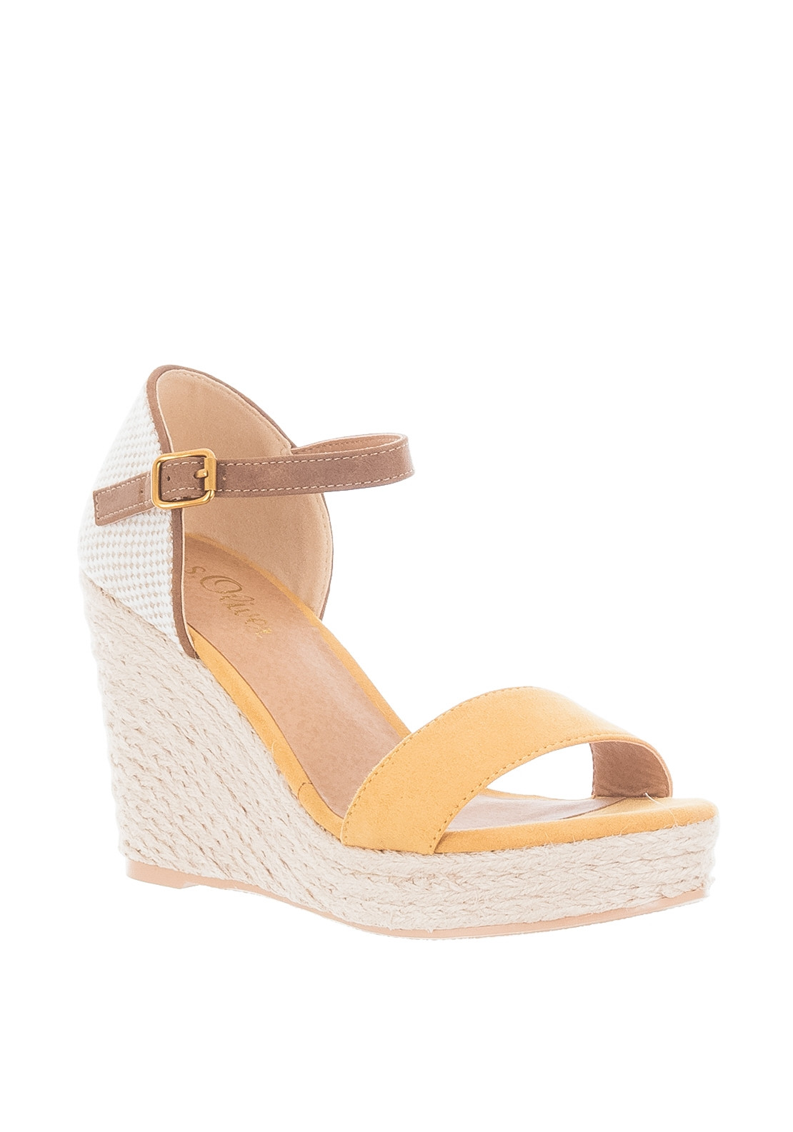 cf11eff4a0f S. Oliver Ankle Strap Espadrille Wedge Sandals, Yellow