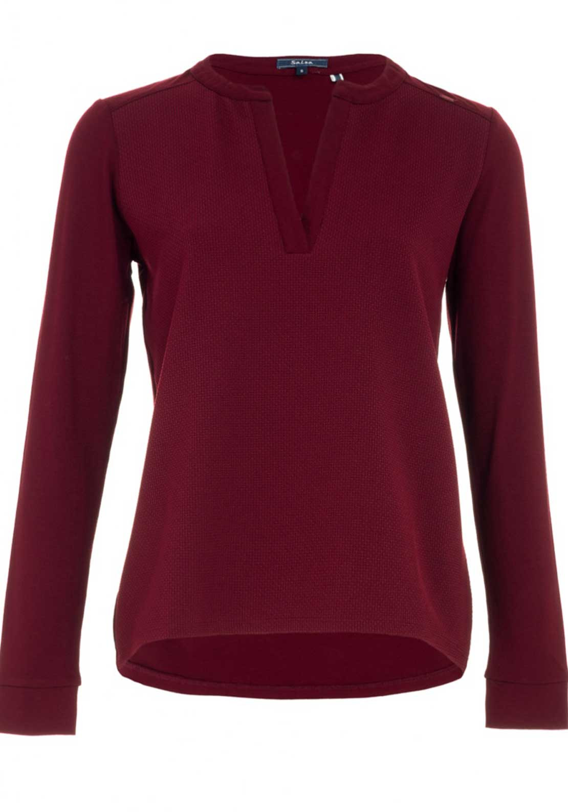 Salsa Long Sleeve Knit Top, Dark Red