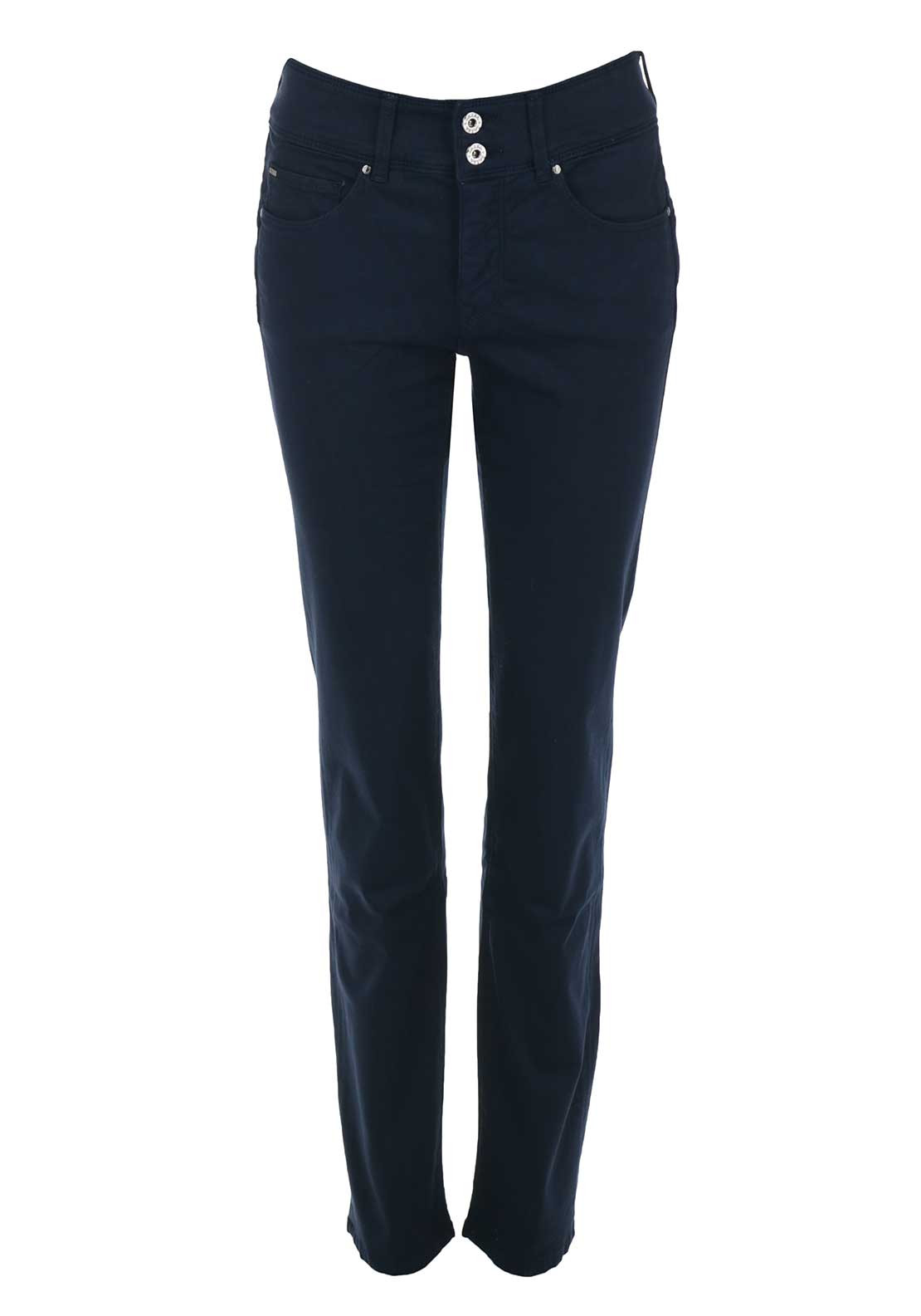Salsa Secret Push in High Waist Slim Leg Trousers, Navy