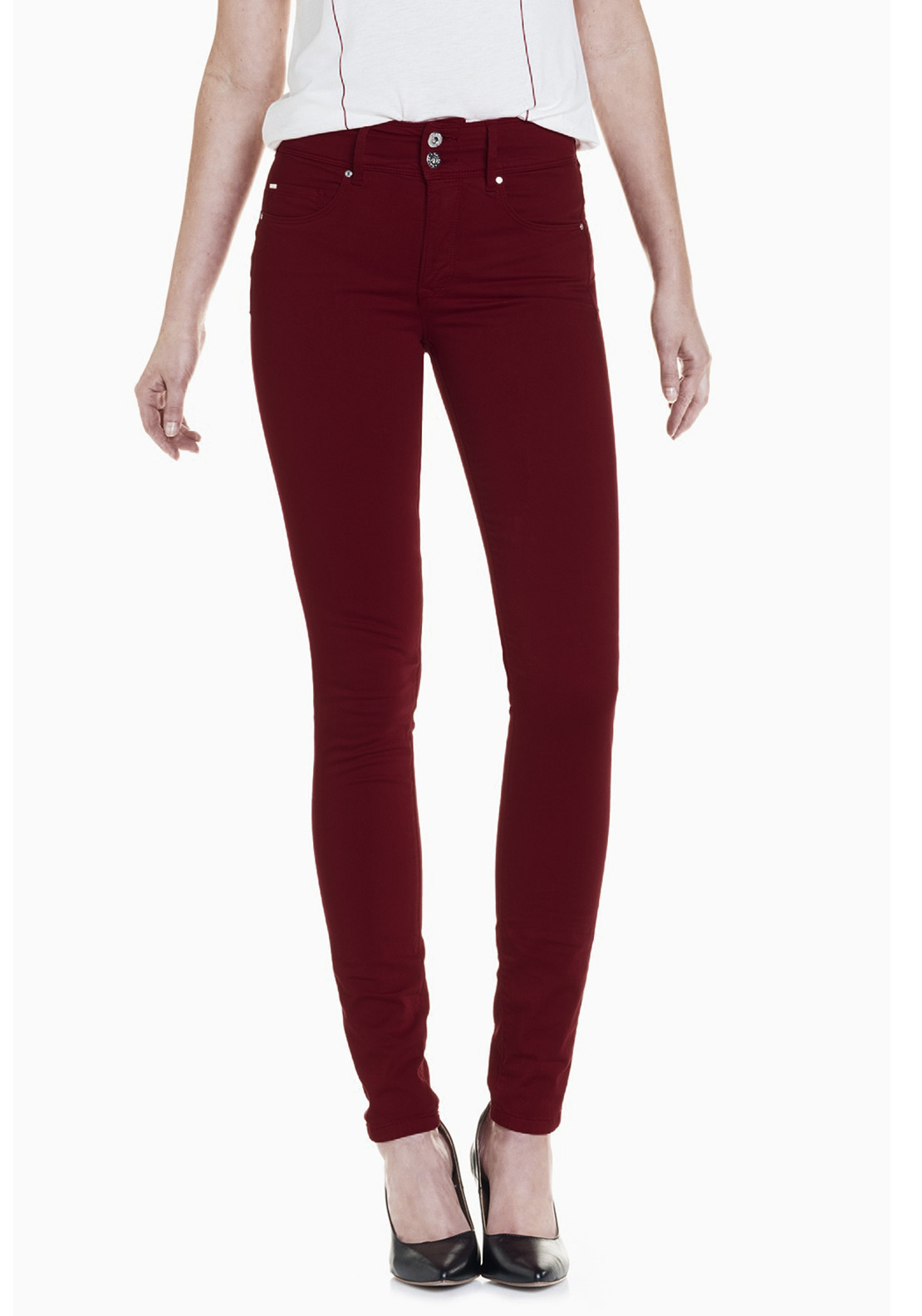 Salsa Secret High Waist Push In Skinny Jeans, Dark Red