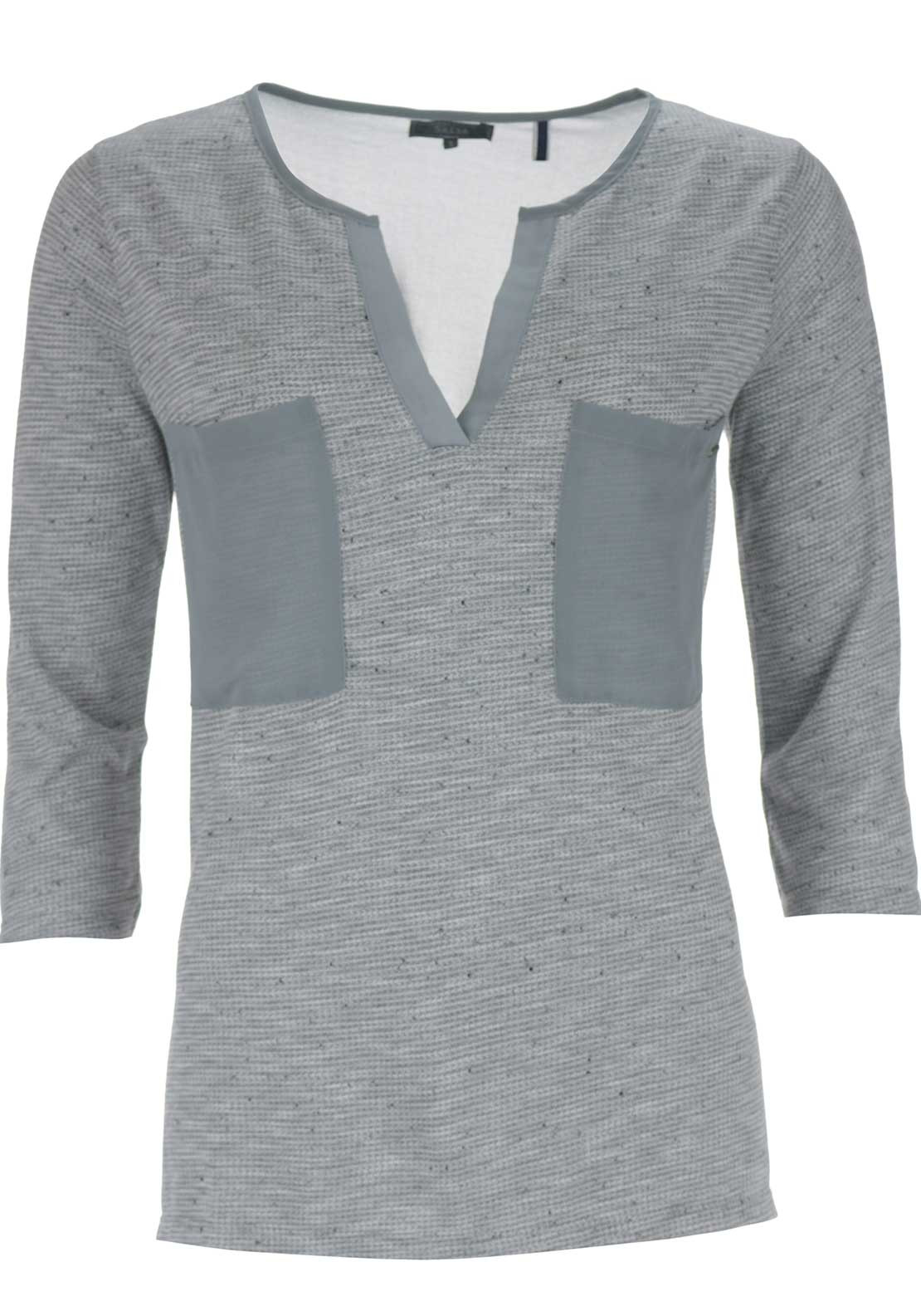 Salsa Chiffon Knit Cropped Sleeve Top, Grey