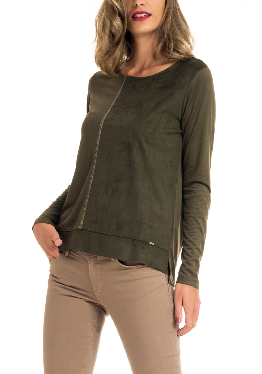 Salsa Contrast Faux Suede Top, Green