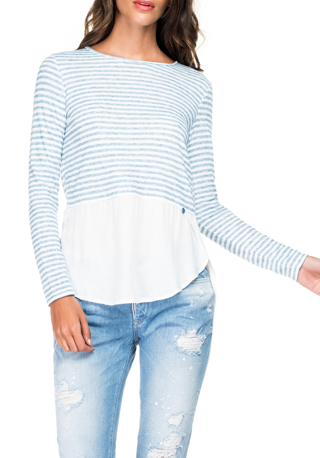 Salsa Striped Contrast Sweater, Blue