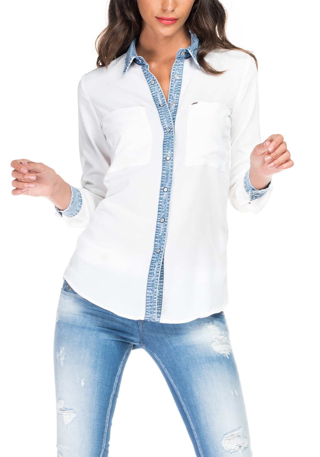 Salsa Chiffon Denim Contrast Shirt, White