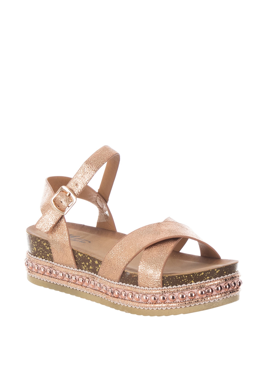 65d824d22c Zen Metallic Stud Trim Platform Sandals, Rose Gold. Be the first to review  this product