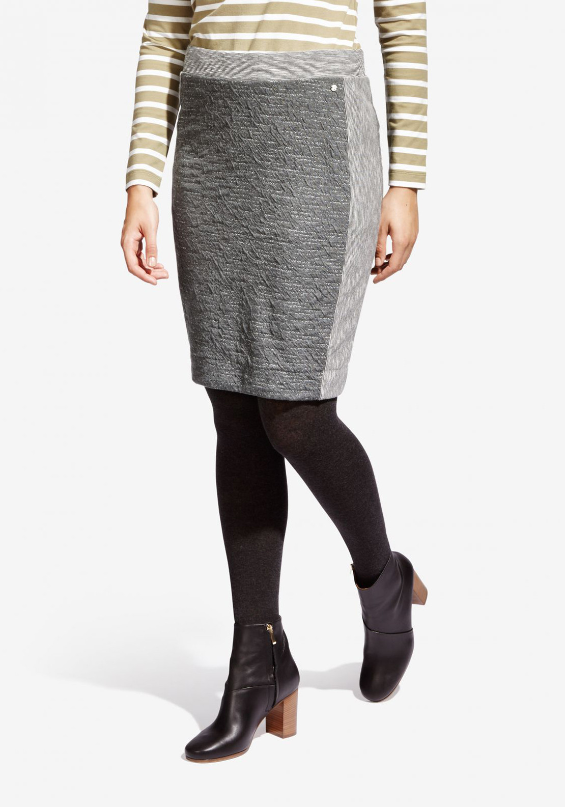 Sandwich Textured Jersey Pencil Skirt, Grey