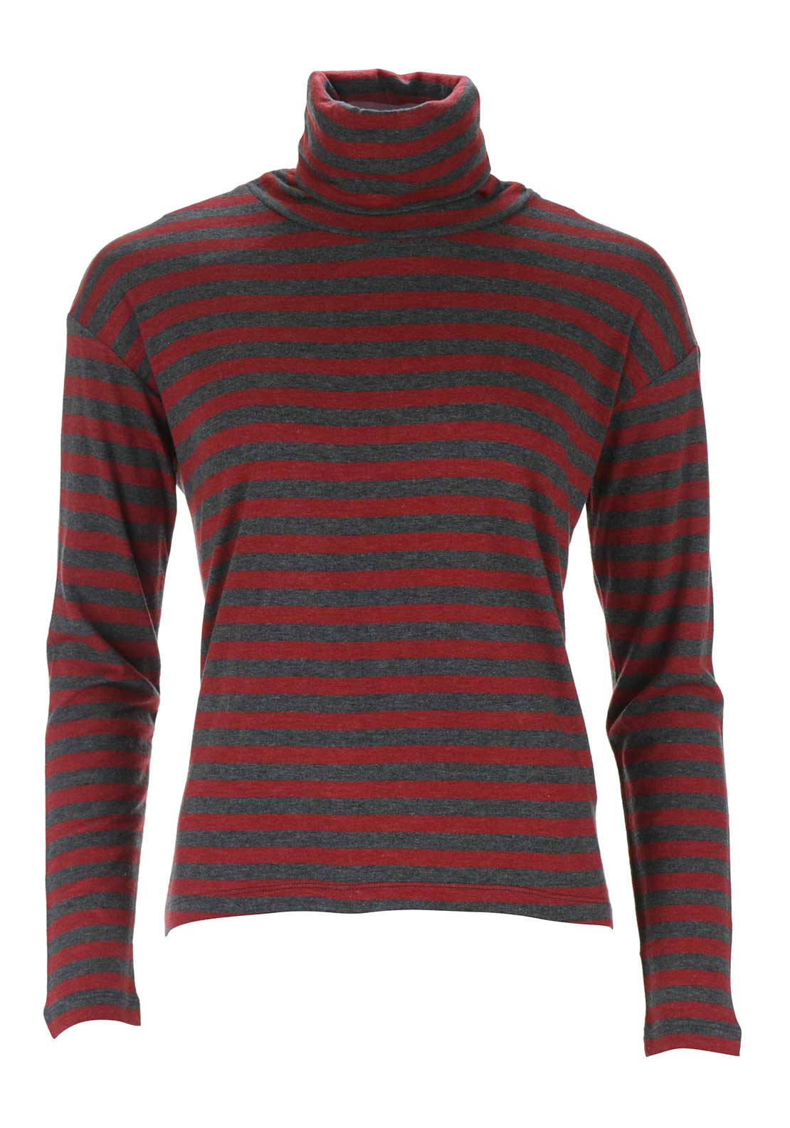 Sandwich Striped Polo Neck Top, Red and Grey