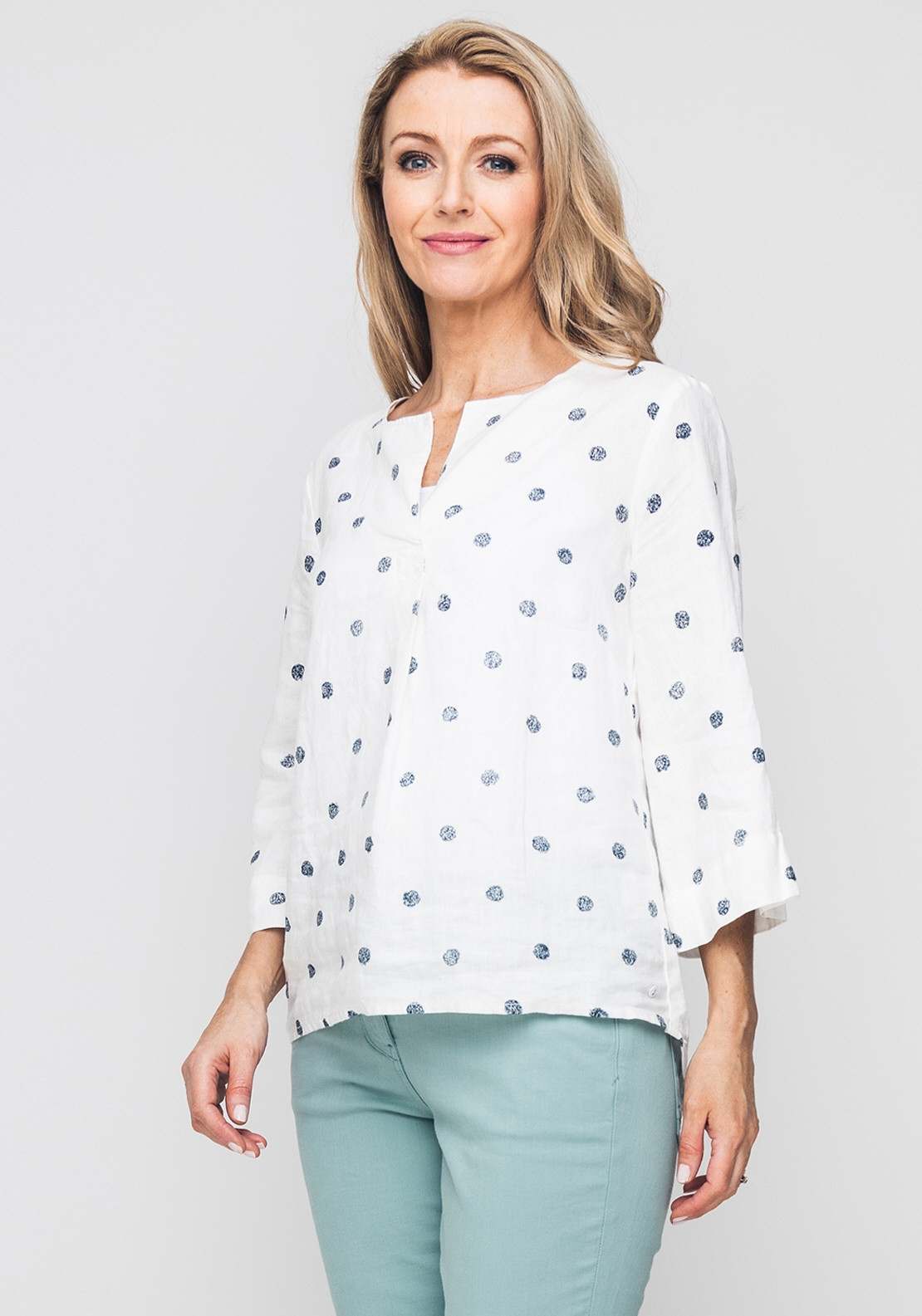 85a56b89ad4 Sandwich Spot Print Linen Tunic Top, White. Be the first to review this  product
