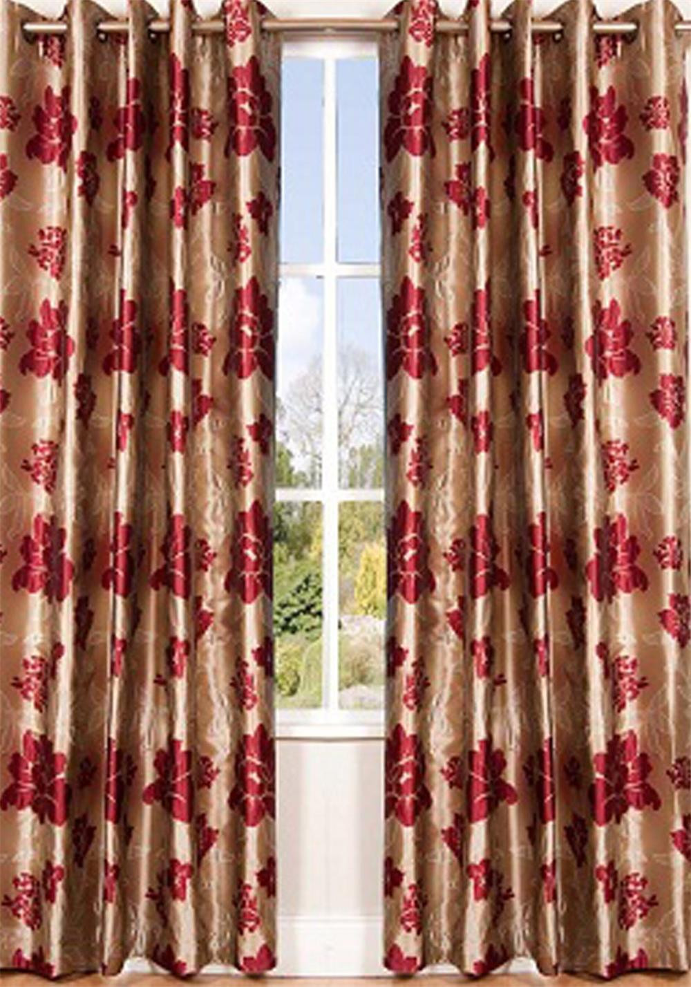 Scatterbox Wisteria Fully Lined Ready-Made Curtains, Red and Chocolate