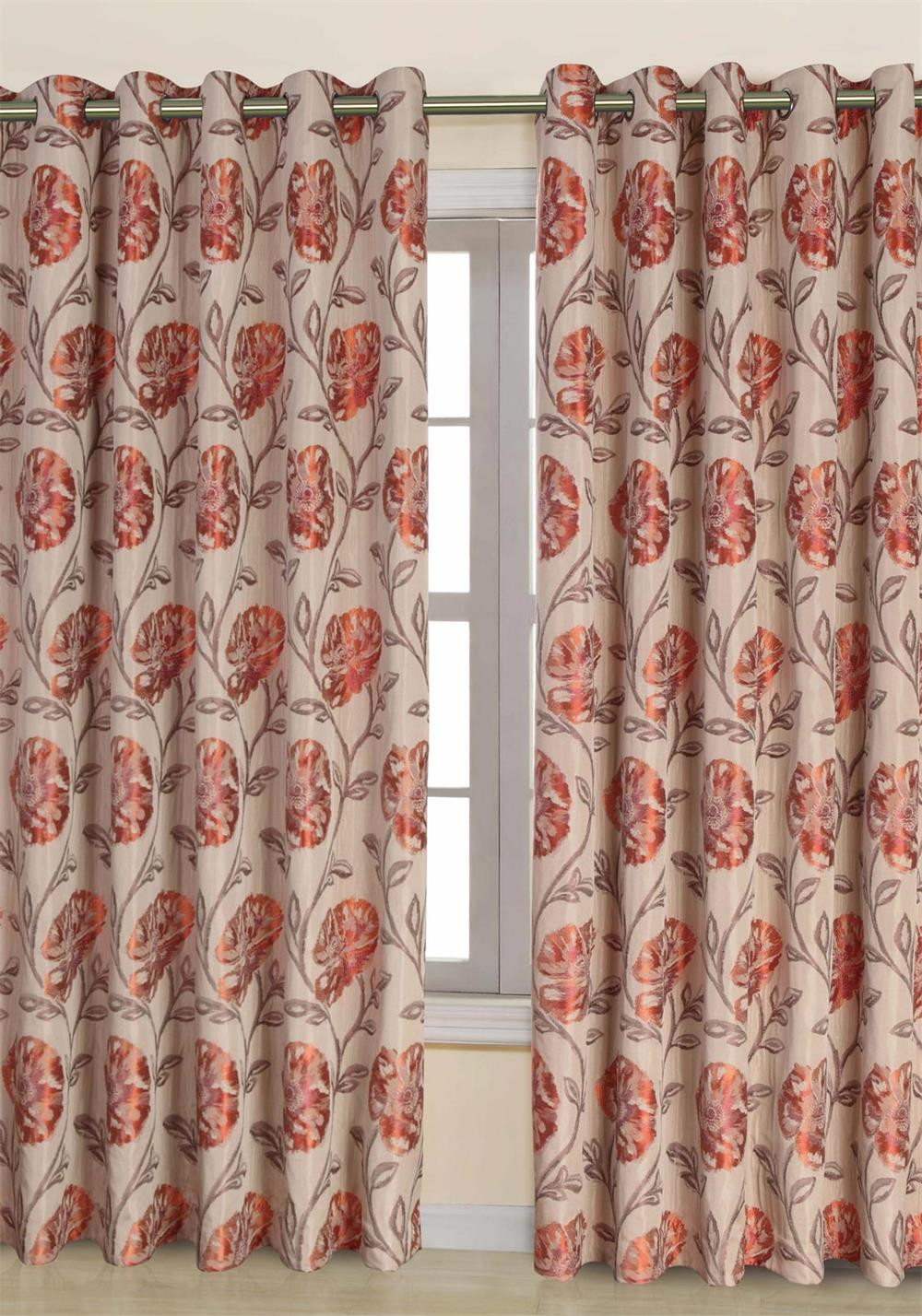 Scatterbox Maisey Eyelet Fully Lined Ready-Made Curtains, Beige and Terracotta