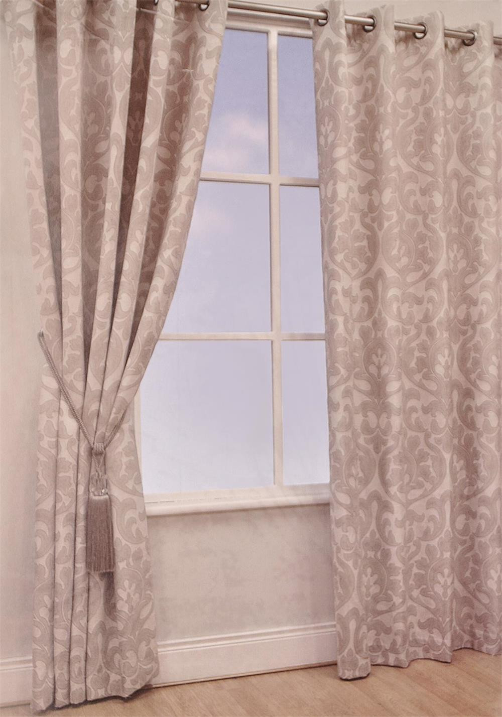 Scatterbox Dorset Eyelet Lined Ready-Made Linen Curtains, Cream and Beige
