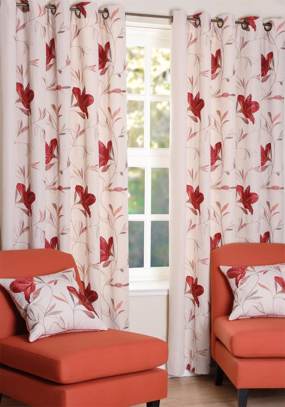 SLX Fleece Lined Shelley Ruby Readymade Eyelet Curtains, Cream Multi