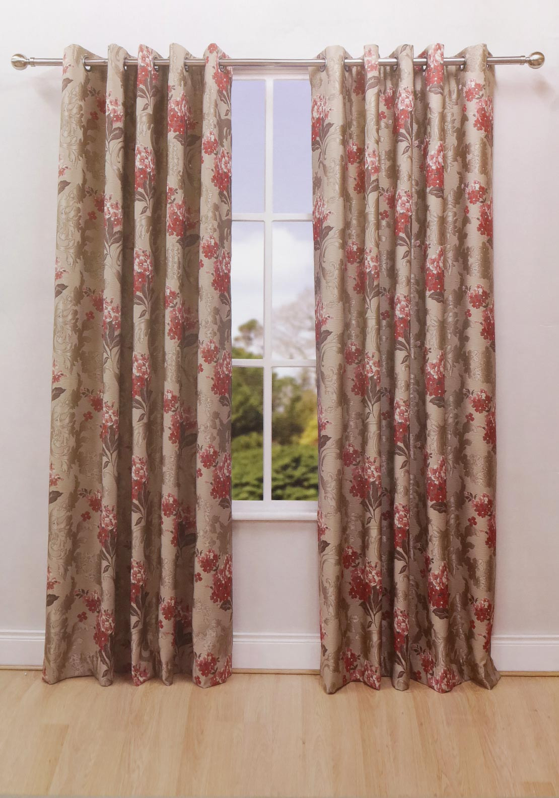 Scatterbox Pasha Ready Made Eyelet Top Curtains, Red