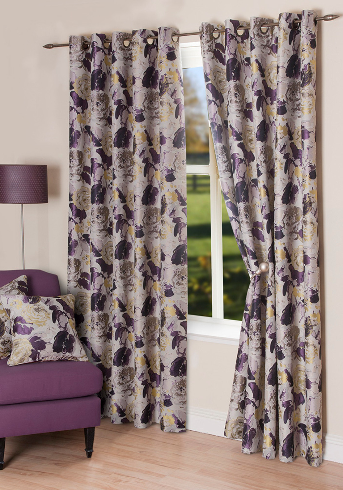 Scatterbox Freya Floral Eyelet Curtains, Purple Multi