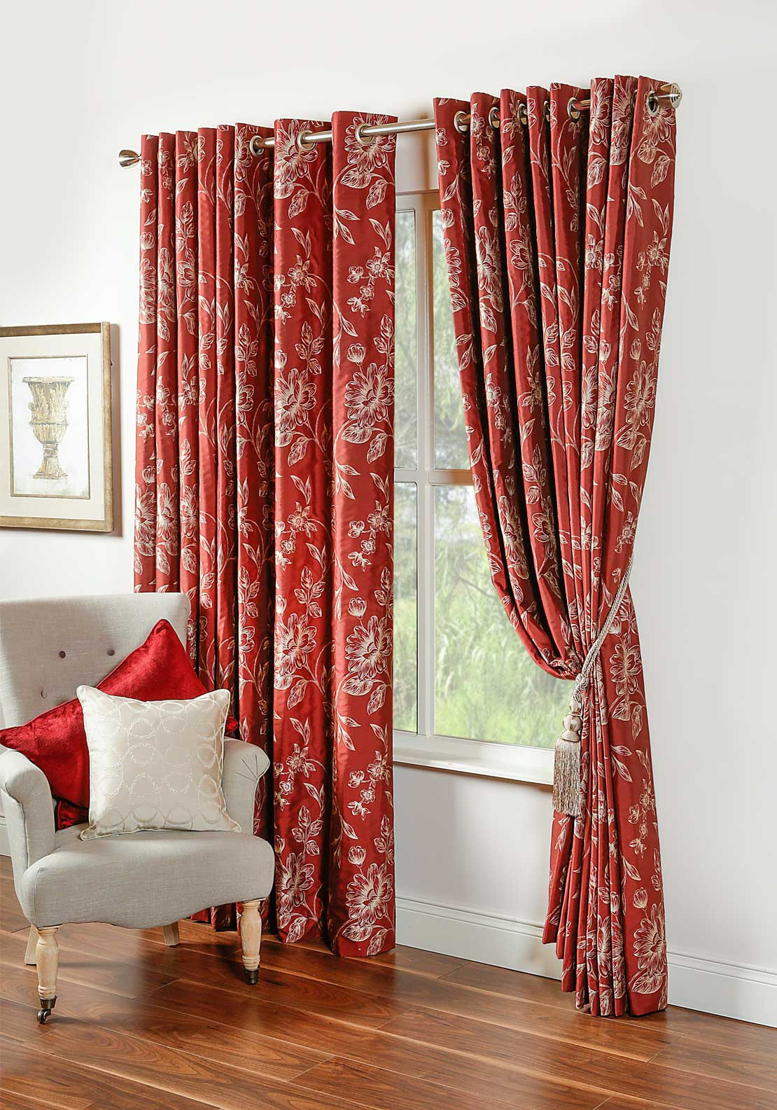 Scatterbox Lucano Fully Lined Ready-Made curtains,114 X 90in, Terracotta