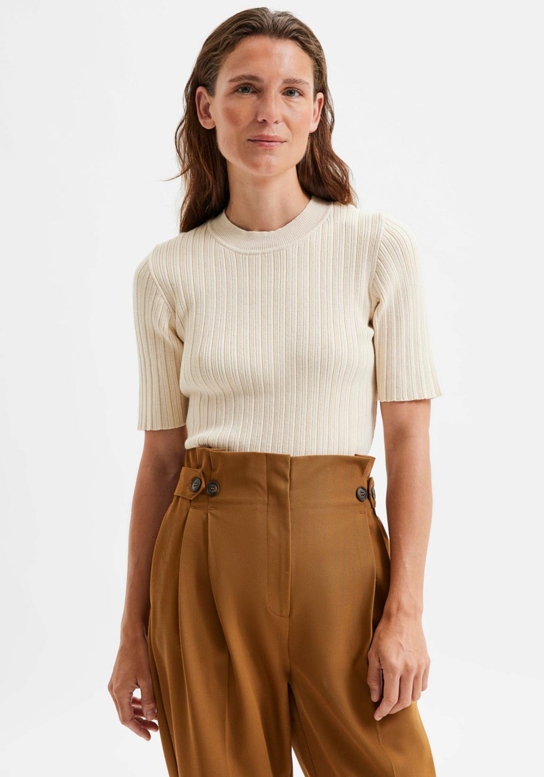 Selected Femme Queen Ribbed Knit Top, Cream