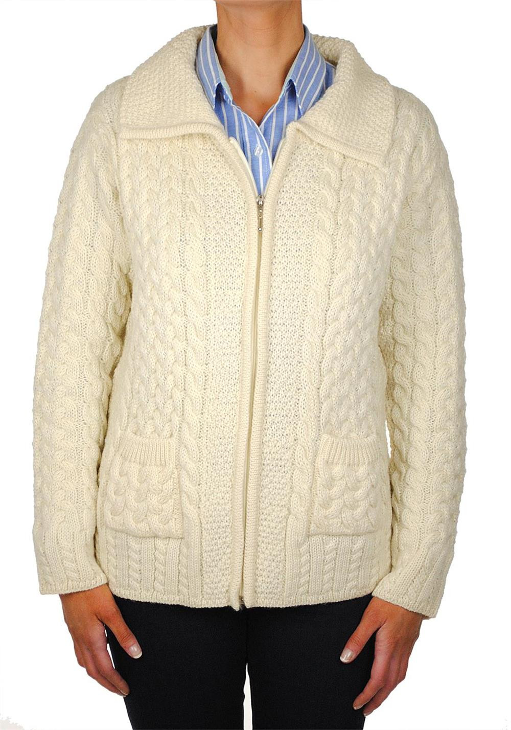 Shades Of Aran Ireland Traditional Knit Cardigan, Cream