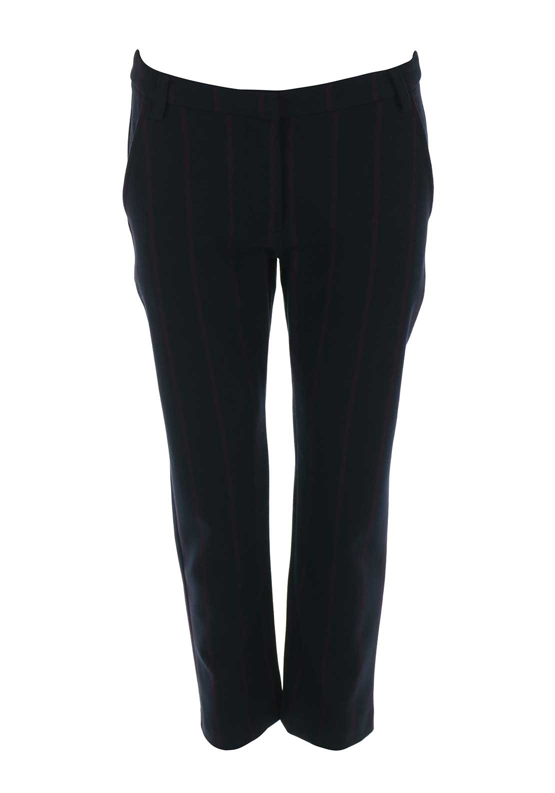 Silvian Heach Striped 7/8 Trousers, Dark Navy