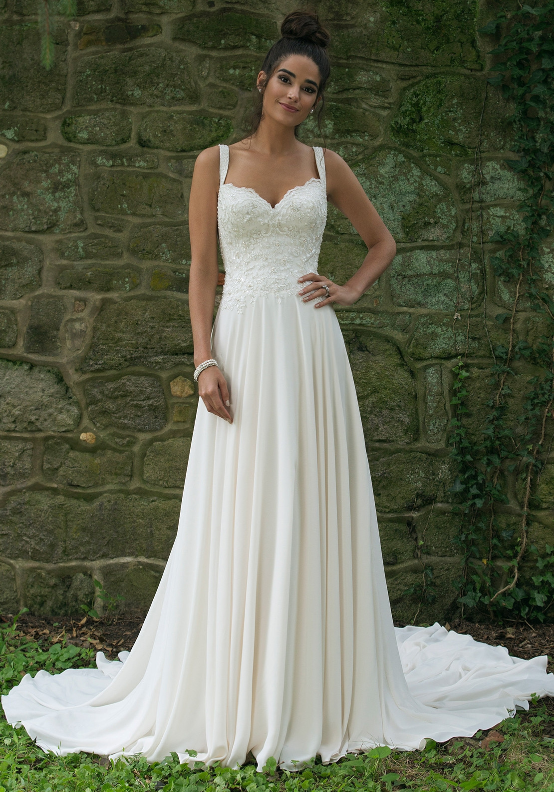 Sincerity 44067 Wedding Dress UK Size 18, Ivory/Silver/Nude