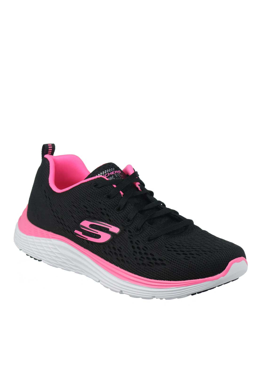 Skechers Womens Relaxed Fit Knit Trainers, Black and Pink