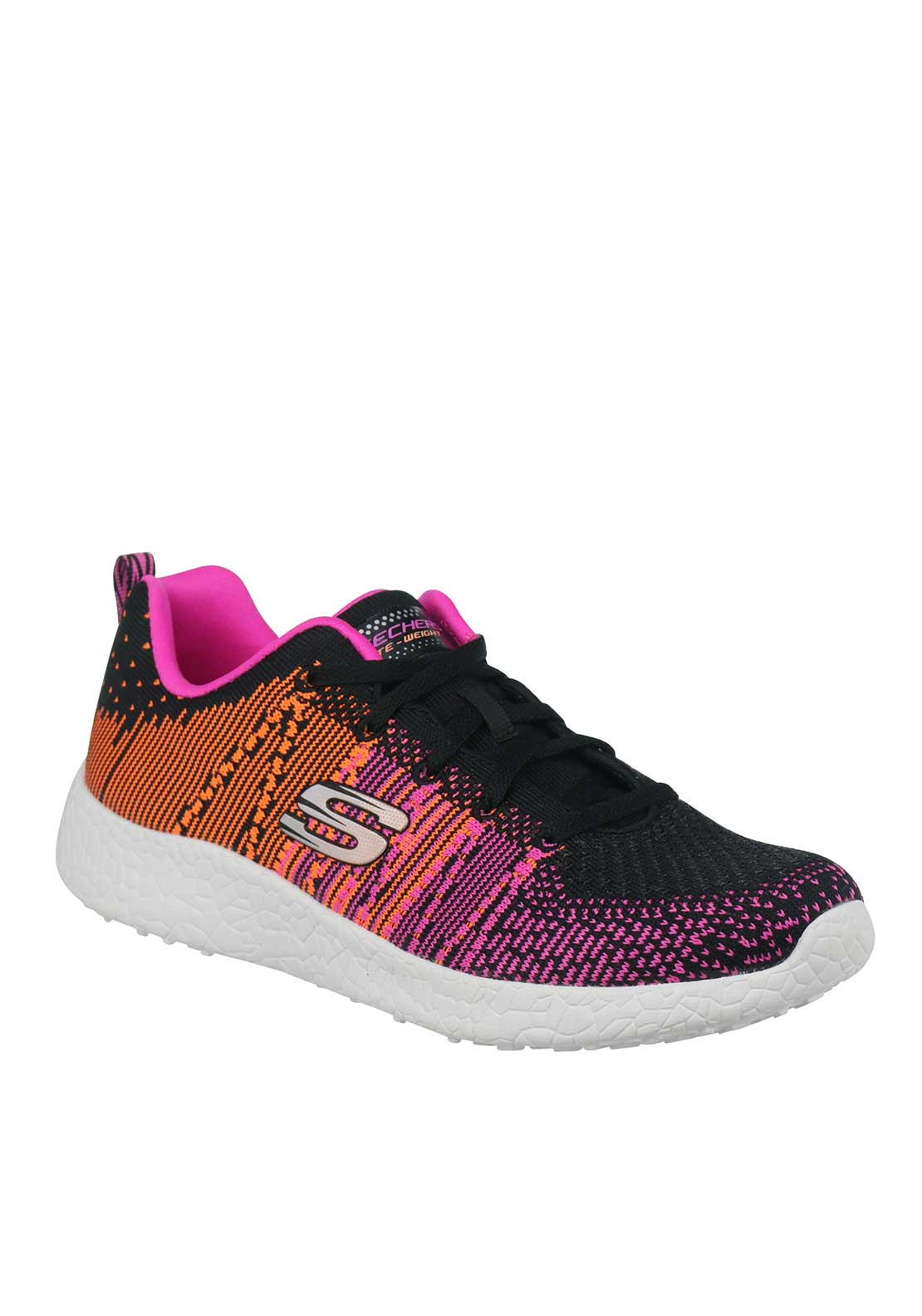 Skechers Womens Burst Memory Trainers, Black and Pink