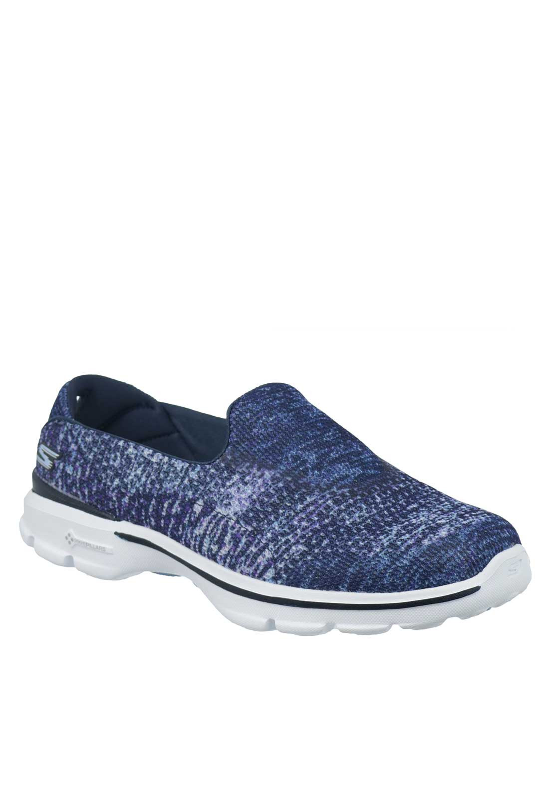 Skechers Womens Go Walk 3 Glisten Slip On Trainers, Blue and Purple