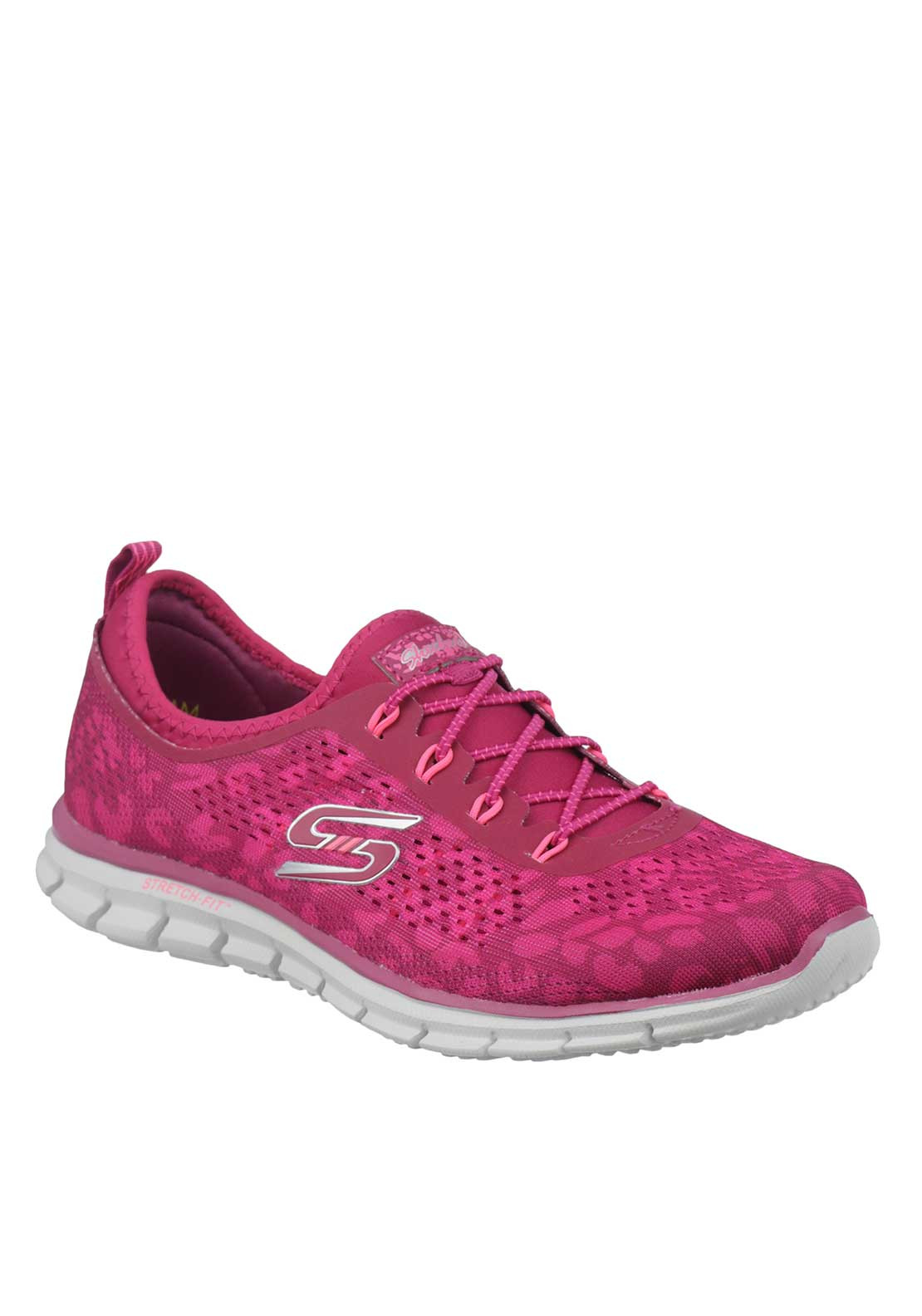 Skechers Knit Memory Foam Slip On Trainers, Pink