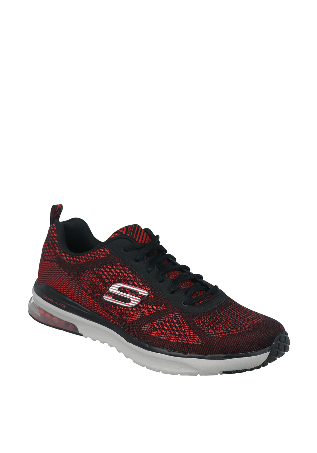 Skechers Mens Dual Lite Trainers, Red & Black